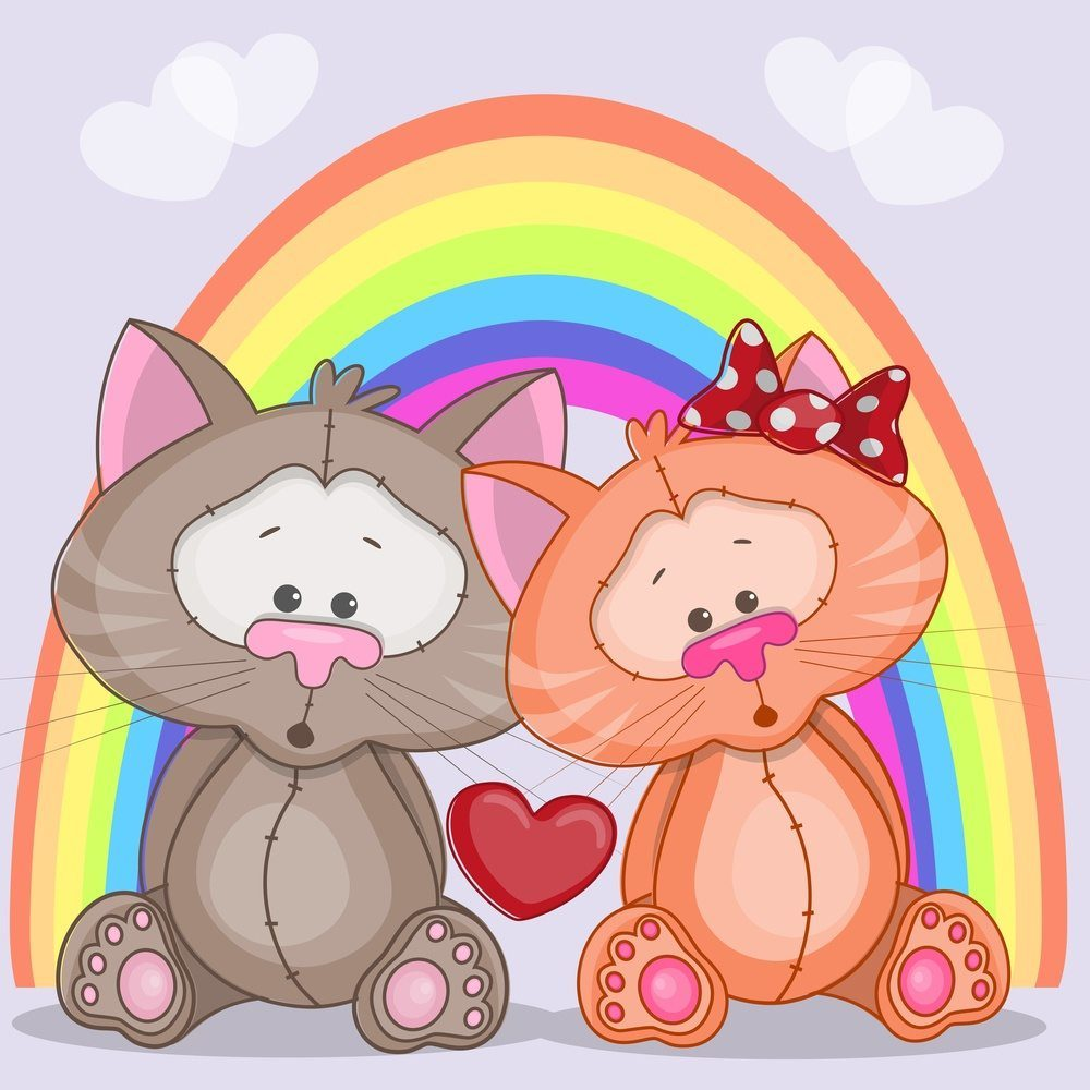 Enamored cats on a background of rainbow